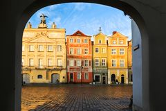Central market square in Poznan, Poland. Colorful renaissance facades on the central market square in Poznan, Poland stock photography