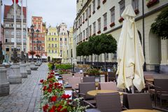 Central market square in Wroclaw, Poland. Bright colorful houses central market square in Wroclaw, Poland royalty free stock image
