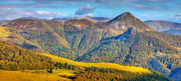 The Central Massif. Beautiful image of the Central Massif,located in the south-central France.Here is the the largest concentration of extinct volcanoes in the Stock Images