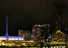 Central melbourne city river side skyline at night in australia Royalty Free Stock Image