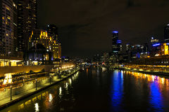 Central melbourne city river side skyline at night in australia Stock Photo