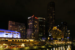 Central melbourne city river side skyline at night in australia Royalty Free Stock Images
