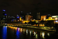 Central melbourne city river side skyline at night in australia Royalty Free Stock Photos