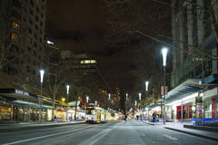Central melbourne street at night in australia Royalty Free Stock Photos
