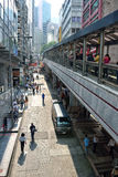 Central-Mid-levels escalators in Hong Kong. The Central-Mid-levels escalators in Hong Kong is the longest outdoor covered escalator system in the world Royalty Free Stock Photo