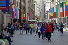 Central Milan Pedestrian Mall Royalty Free Stock Photography