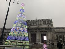 Central Milano train station at Christmas. The central Milano train station with a Christmas tree Royalty Free Stock Photos