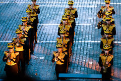 The Central Military Band of the Ministry of Defense of Russia at the Red Square. MOSCOW, RUSSIA - AUGUST 26, 2016: Spasskaya Tower internationa military music Stock Photo