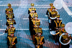 The Central Military Band of the Ministry of Defense of Russia at the Red Square. MOSCOW, RUSSIA - AUGUST 26, 2016: Spasskaya Tower international military music Stock Photos