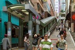 Central-Mitt--nivåer rulltrappa i Hong Kong Arkivbilder
