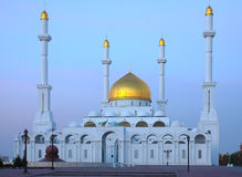 The central mosque in Astana. Photo of the central mosque of a city of Astana at sunrise Royalty Free Stock Image