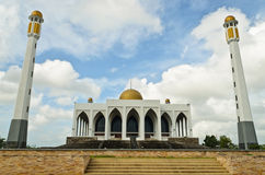 Central mosque of Songkhla province, Thailand. Central mosque with clouds and blue sky at Songkhla province, Thailand Royalty Free Stock Photography