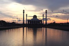 Central Mosque of Songkhla, Thailand with sunset light background. And color filter Stock Photos