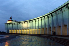 Central Museum of the great Patriotic war of 1941-1945 on Poklonnaya hill at night. Stock Photos