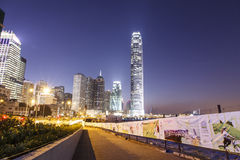 Central night scenes behind LegCo Complex Stock Photo