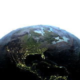 Central and North America on Earth at dusk Royalty Free Stock Photography
