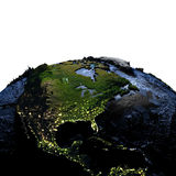 Central and North America on Earth at night with exaggerated mou. Central and North America on model of Earth with exaggerated surface features including ocean Royalty Free Stock Image