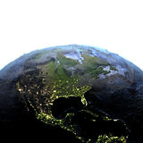 Central and North America on Earth at night - visible ocean floo Stock Images