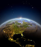 Central and North America from space during sunrise Stock Images
