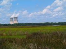 Central nuclear al lado de un pantano de la Florida Fotografía de archivo