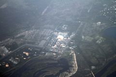 Central nuclear de Chernóbil de una opinión del ojo de pájaro, Chernóbil, Ucrania, 09 08 2017 Foto de archivo