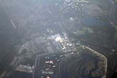 Central nuclear de Chernóbil de una opinión del ojo de pájaro, Chernóbil, Ucrania, 09 08 2017 Imagen de archivo libre de regalías