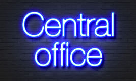 Central office neon sign on brick wall background. Royalty Free Stock Images