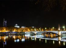 Central old town lyon city riverside at night in france Royalty Free Stock Photos