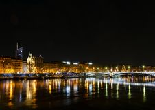 Central old town lyon city riverside at night in france. Central old town lyon city and rhone river side view at night in france Royalty Free Stock Image