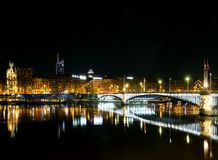 Central old town lyon city riverside at night in france Royalty Free Stock Photo