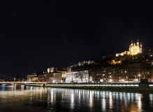 Central old town lyon city riverside at night in france. Central old town lyon city and saone river side view at night in france Royalty Free Stock Photo