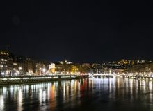 Central old town lyon city riverside at night in france. Central old town lyon city and saone river side view at night in france Stock Photo