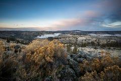 Central Oregon soluppgång Mt Jefferson Arkivbilder