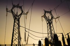 Central para a distribuição elétrica imagem de stock