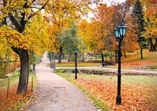Central Park à Riga en automne, Lettonie Photographie stock libre de droits