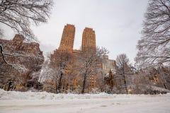Central Park μετά από το χιόνι Strom Linus Στοκ Εικόνα