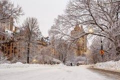 Central Park μετά από το χιόνι Strom Linus Στοκ Φωτογραφία