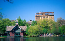 Central park. Buildings by water in central park, new york Stock Photos