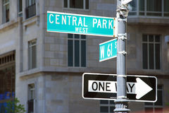 Central Park. A shot of Central Park Avenue in Manhattan - New York Royalty Free Stock Image