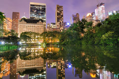 Central Park. Summertime in New York City's Central Park at night Stock Photo