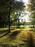 Άποψη του μεγάλου χορτοτάπητα κατά τη διάρκεια του ηλιοβασιλέματος το φθινόπωρο στο Central Park, Μανχάταν Στοκ εικόνα με δικαίωμα ελεύθερης χρήσης