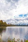 Central Park Autumn across Onassis Reservoir Stock Photo