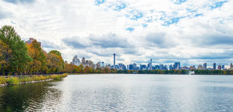 Central Park Autumn across Onassis Reservoir Royalty Free Stock Images