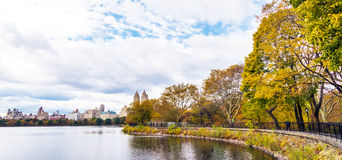 Central Park Autumn across Onassis Reservoir Royalty Free Stock Photo