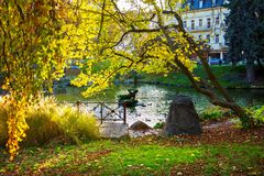 Central park in autumn - center of small west Bohemian spa town Marianske Lazne Marienbad - Czech Republic Stock Photos
