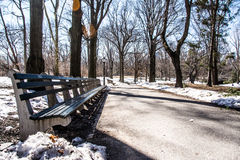 Central Park Benchs View. Central Park benchs Winter 2014 Stock Image