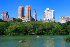 Central Park with boat in lake Royalty Free Stock Photography