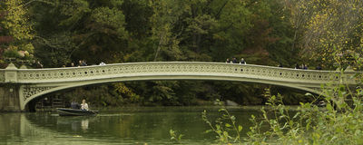 Central Park Bow Bridge Panorama royalty free stock photo
