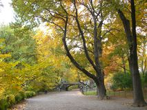 Central Park Bridge & Path. A bridge in the background at Central Park Stock Images
