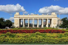 Moscow, Russia - August 08, 2017: Central Entrance to the Maxim Gorky Recreation Park stock images